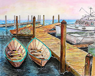 Drawing - At The Dock In Gloucester Massachusetts by Michele A Loftus