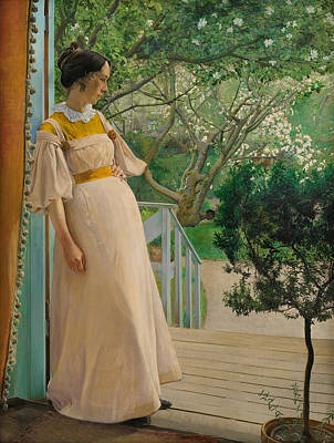 Painting - At The French Windows. The Artist's Wife by Laurits Andersen Ring