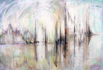 Painting - At the Harbor by Shuanteya Sherman