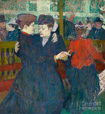 Painting - At The Moulin Rouge Two Women Walzing, 1892 by Henri de Toulouse-Lautrec