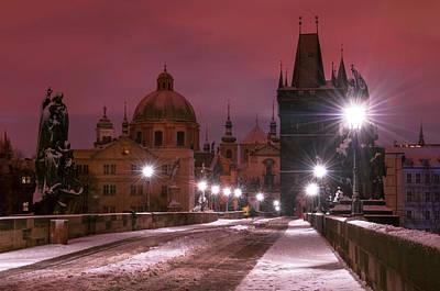 Photograph - At The Night Edge. Snowy Prague 1 by Jenny Rainbow
