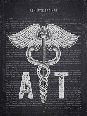 Athletes Royalty-Free and Rights-Managed Images - Athletic Trainer Gift Idea With Caduceus illustration 02 by Aged Pixel