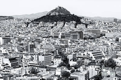 Photograph - Athens City View Greece Monochrome by John Rizzuto