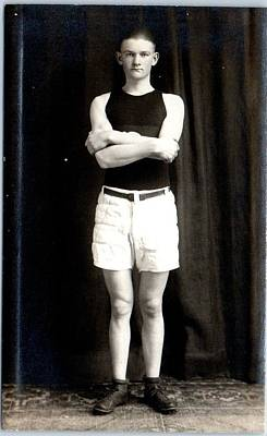 Sports Paintings - Athlete Basketball Player Uniform 1910s by Celestial Images
