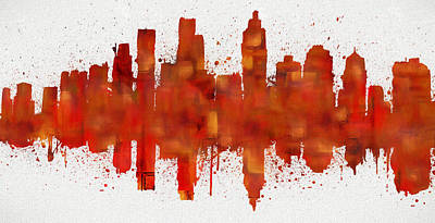 Painting - Atlanta Abstract Skyline by Dan Sproul