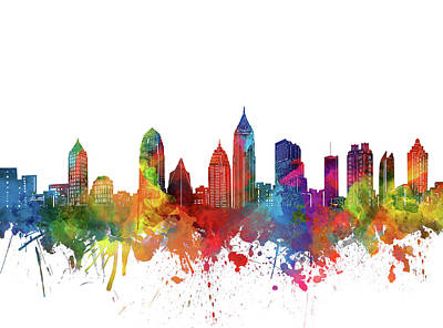 Abstract Skyline Royalty-Free and Rights-Managed Images - Atlanta City Skyline Watercolor by Bekim M