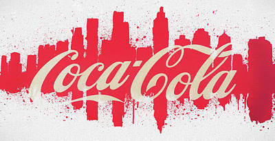 Painting - Atlanta Coca Cola Skyline by Dan Sproul