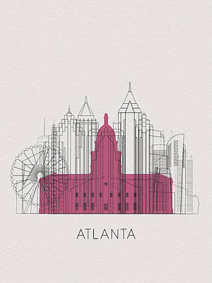 Digital Art - Atlanta Landmarks by Inspirowl Design
