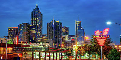 Royalty-Free and Rights-Managed Images - Atlanta Skyline and Varsity Neon Panorama by Gregory Ballos