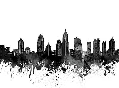 Abstract Skyline Royalty-Free and Rights-Managed Images - Atlanta Skyline Bw by Bekim M