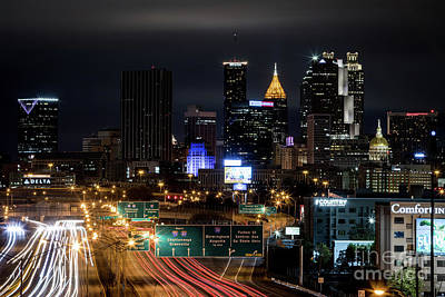 Photograph - Atlanta Skyline From The South At Night 1 by Sanjeev Singhal