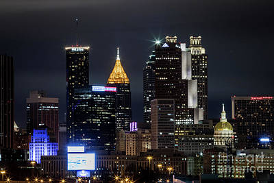 Photograph - Atlanta Skyline From The South At Night 2 by Sanjeev Singhal