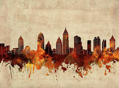 Abstract Skyline Royalty-Free and Rights-Managed Images - Atlanta Skyline Sepia by Bekim M