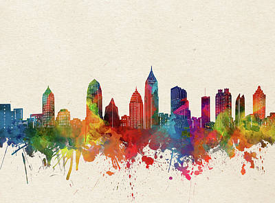 Abstract Skyline Royalty-Free and Rights-Managed Images - Atlanta Skyline Watercolor by Bekim M