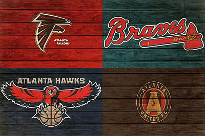 Mixed Media - Atlanta Sports Teams Barn Door by Dan Sproul