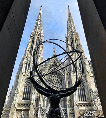 Photograph - Atlas Statue And St Patricks by CAC Graphics