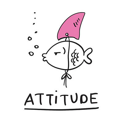 Drawing - Attitude - Baby Room Nursery Art Poster Print by Dadada Shop