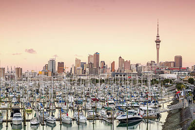 Auckland City And Harbour At Sunset Art Print by Matteo Colombo