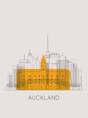 Digital Art - Auckland Landmarks by Inspirowl Design