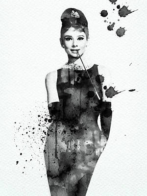 Digital Art Rights Managed Images - Audrey Hepburn black and white watercolor portrait Royalty-Free Image by Mihaela Pater