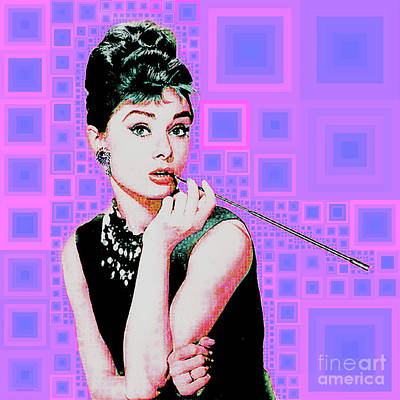 Photograph - Audrey Hepburn Breakfast At Tiffanys In Mca Mid Century Abstract Squares 20190219 M100 by Wingsdomain Art and Photography
