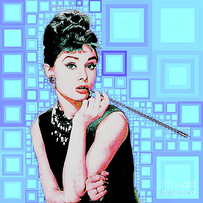 Photograph - Audrey Hepburn Breakfast At Tiffanys In Mca Mid Century Abstract Squares 20190219 M168 by Wingsdomain Art and Photography