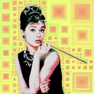 Photograph - Audrey Hepburn Breakfast At Tiffanys In Mca Mid Century Abstract Squares 20190219 P41 by Wingsdomain Art and Photography