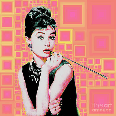 Photograph - Audrey Hepburn Breakfast At Tiffanys In Mca Mid Century Abstract Squares 20190219 by Wingsdomain Art and Photography