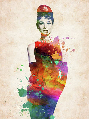 Digital Art Rights Managed Images - Audrey Hepburn colorful watercolor portrait Royalty-Free Image by Mihaela Pater