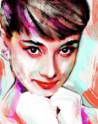 Wine Down Royalty Free Images - Audrey Hepburn painting Royalty-Free Image by Stars on Art