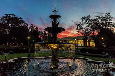 Photograph - Augusta University Fountain Sunset Ga by Sanjeev Singhal