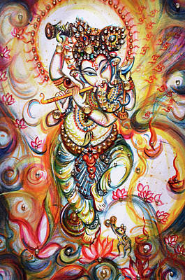 Painting - Aum Ganesha - Flute Playing. by Harsh Malik