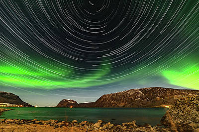 Photograph - Aurora Borealis With Startrails by Kai Mueller