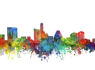 Abstract Skyline Royalty-Free and Rights-Managed Images - Austin City Skyline Watercolor by Bekim M