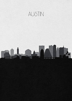 Digital Art - Austin Cityscape Art V2 by Inspirowl Design