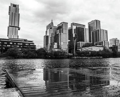 Photograph - Austin Skyline Black And White Reflection by Dan Sproul