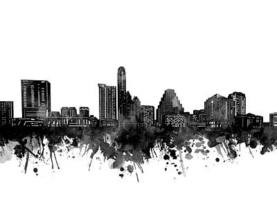 Abstract Skyline Royalty-Free and Rights-Managed Images - Austin Skyline Bw by Bekim M