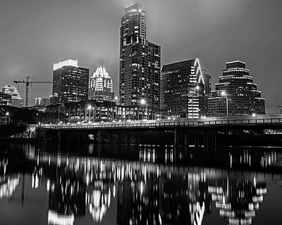 Photograph - Austin Skyline Reflection Colorado River Austin Tx Texas Black And White by Toby McGuire