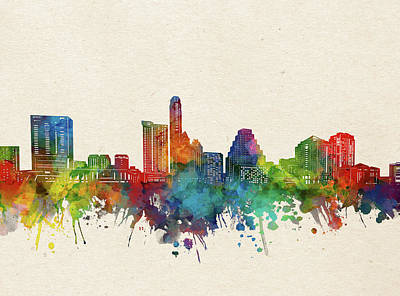 Abstract Skyline Royalty-Free and Rights-Managed Images - Austin Skyline Watercolor by Bekim M