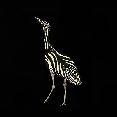 Wall Art - Mixed Media - Australian Bustard Zebra 1 by Joan Stratton