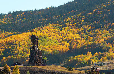 Steven Krull Royalty-Free and Rights-Managed Images - Autumn Aspen Leaves and Goldfield Mine by Steven Krull