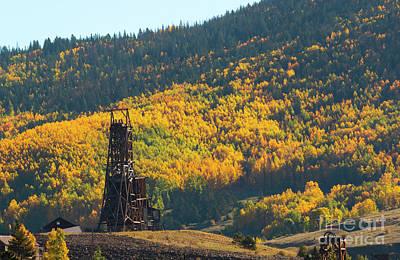 Photograph - Autumn Aspen Leaves And Goldfield Mine by Steve Krull