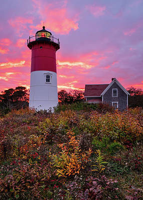 Photograph - Autumn At Nauset Light - Vertical by Michael Blanchette