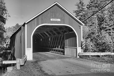 Photograph - Autumn At The Cresson Covered Bridge Black And White by Adam Jewell