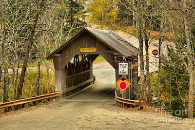 Photograph - Autumn At The Gold Brook Covered Bridge by Adam Jewell
