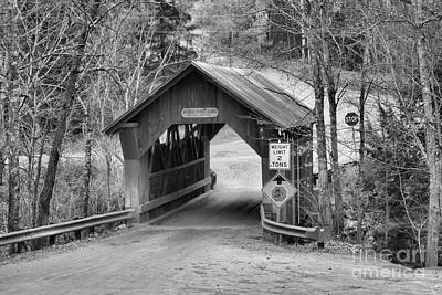 Photograph - Autumn At The Gold Brook Covered Bridge Black And White by Adam Jewell
