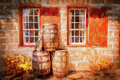Painting - Autumn At The Old Salem Mercantile Store Ap by Dan Carmichael