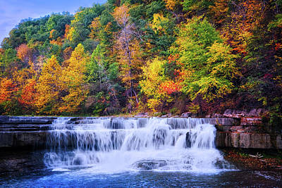 Art Print featuring the photograph Autumn Beauty At Lower Taughannock Falls  by Lynn Bauer