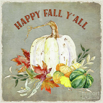 Painting - Autumn Celebration - 4 Happy Fall Y'all White Pumpkin Fall Leaves Gourds by Audrey Jeanne Roberts