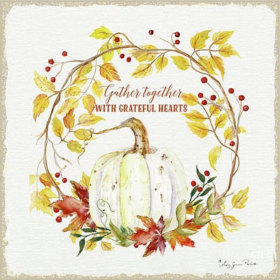 Painting - Autumn Celebration 1 - Gather Together With Grateful Hearts White Pumpkin Fall Leaves Red Berries by Audrey Jeanne Roberts